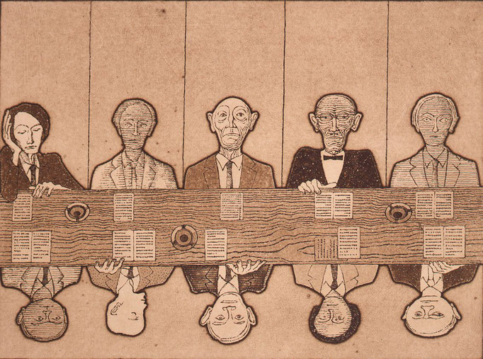 Faculty Council / etching, aquatint / 26.6×36.3cm / 1974 「教授会」エッチング・アクアチント