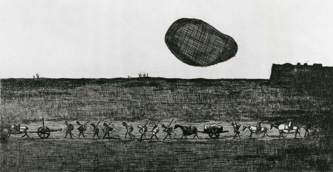 Elegy for a New Conscript: A Flabby Sun Rises / etching / 8.9×17.6cm / 1952 「初年兵哀歌(ぐにゃぐにゃとした太陽がのぼる)」エッチング