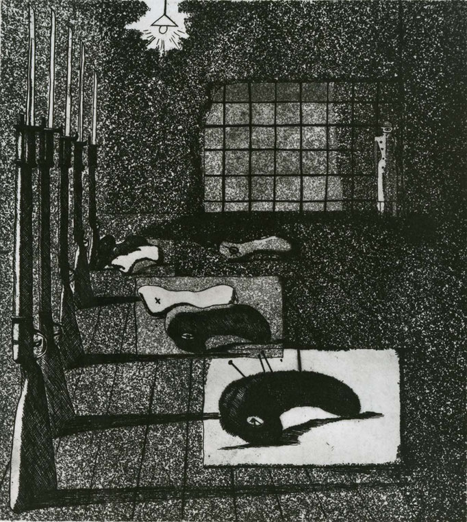 Elegy for a New Conscript: Under the Shadow of a Rifle Stand / etching, aquatint / 20.0×17.5cm/ 1951 「初年兵哀歌(銃架のかげ)」エッチング・アクアチント