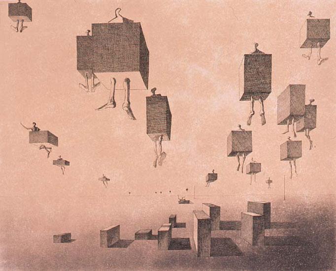 Flight / etching, aquatint / 36.5×45.1cm / 1958 「飛翔」エッチング・アクアチント