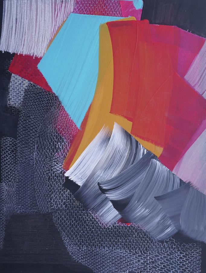 2017, Pigment/Acryl, Buntstift auf MDF, 30x40cm