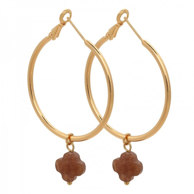 Ohrringe Creole Clover gold brown 19€