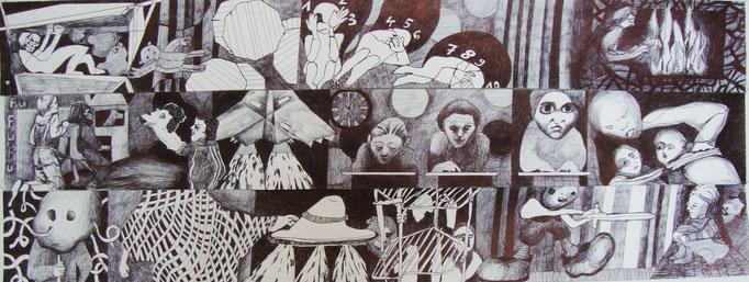 Die Sechsjärigen ca. 40 x 80 cm, mehrteilig Kugelschreiber auf Papier