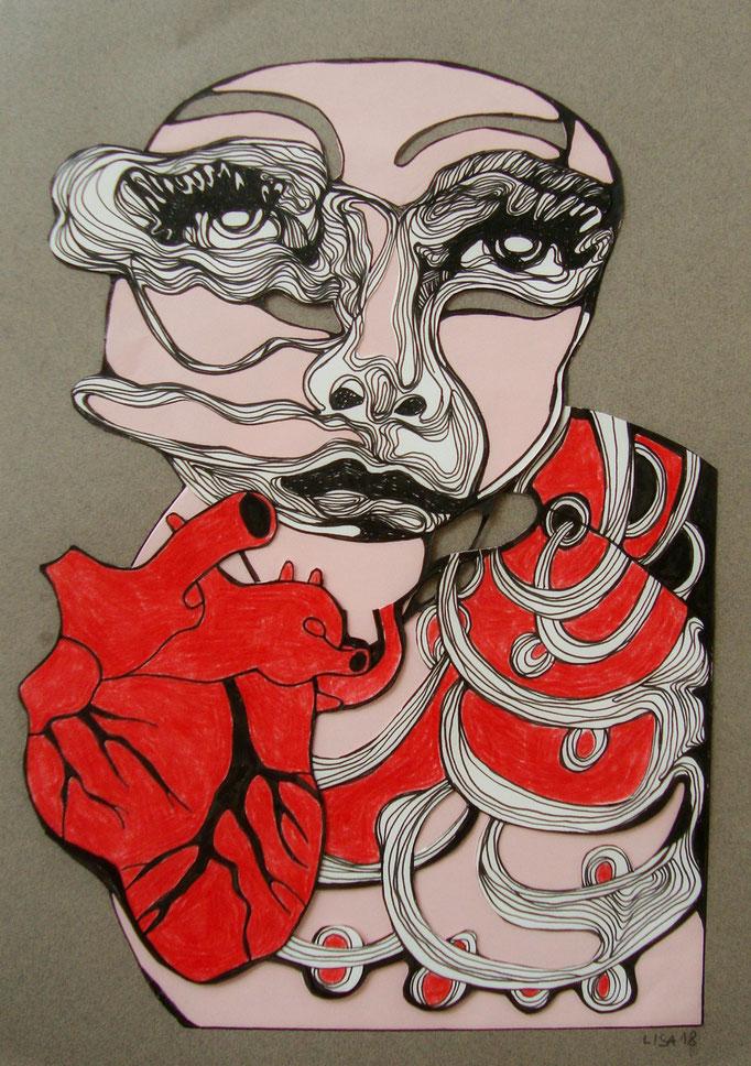 Herz 21 x 29,7 cm Fineliner/Buntstift/Collage auf Papier