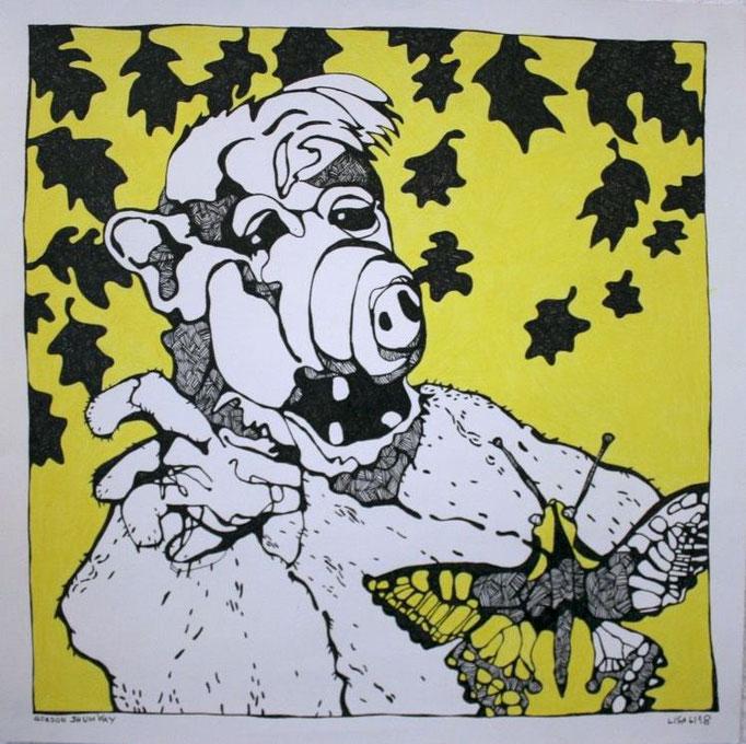 Alf 50 x 50 cm Fineliner/Buntstift auf Papier