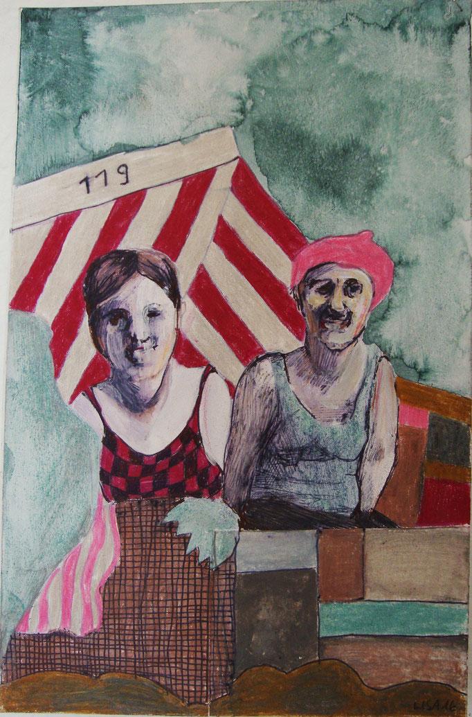 Strandkorb 97 15 x 15 cm Farbstift/Tusche auf Karton
