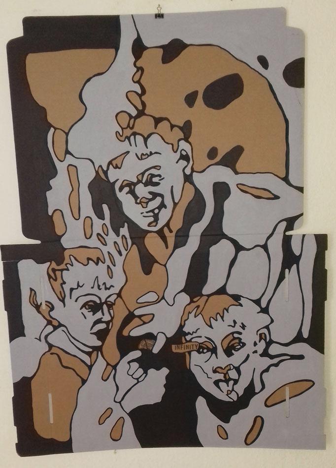 Infinity Nr.2     75 x 103 cm  Marker/Acryl auf Pappe