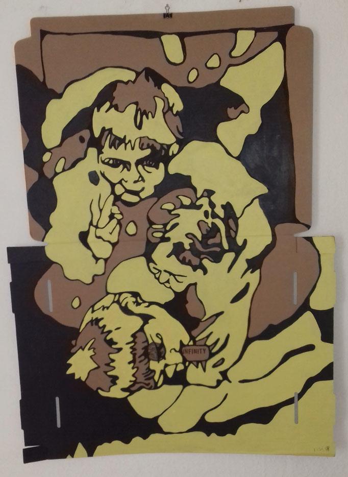 Infinity Nr.1     75 x 103 cm  Marker/Acryl auf Pappe