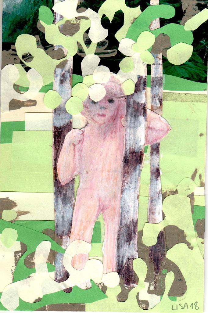 Mädchen mit drei Birken 12 x 19,5 cm  Collage/Farbstift auf Karton