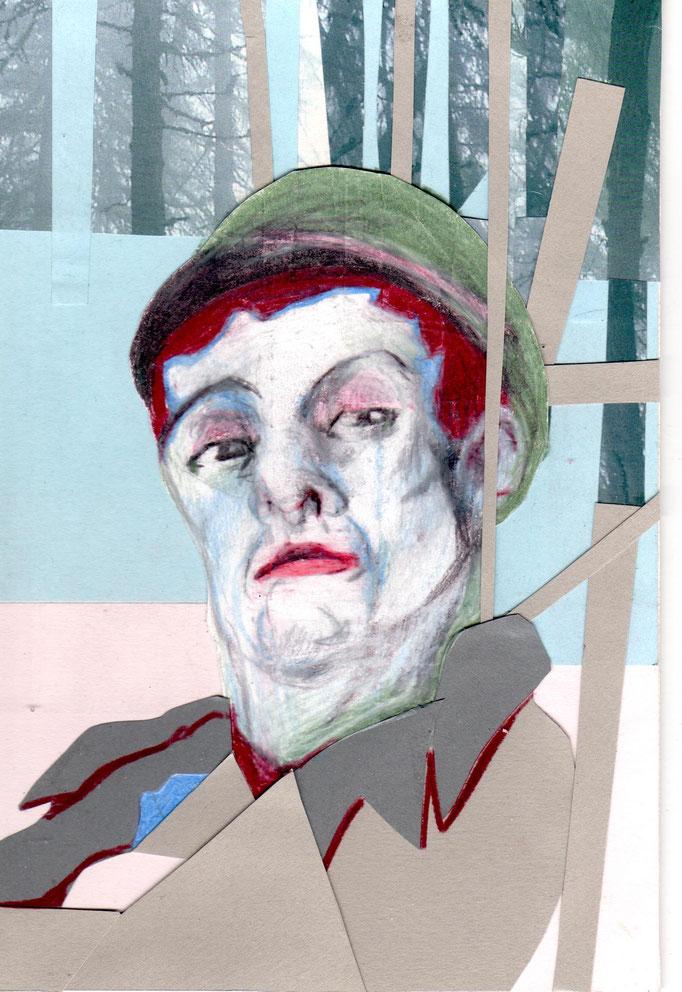 Der Förster    12 x 19,5 cm  Collage/Farbstift auf Karton
