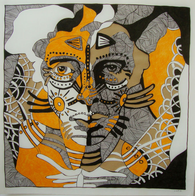Warpaint 50 x 50 cm Fineliner/Buntstift/Cutout auf Papier