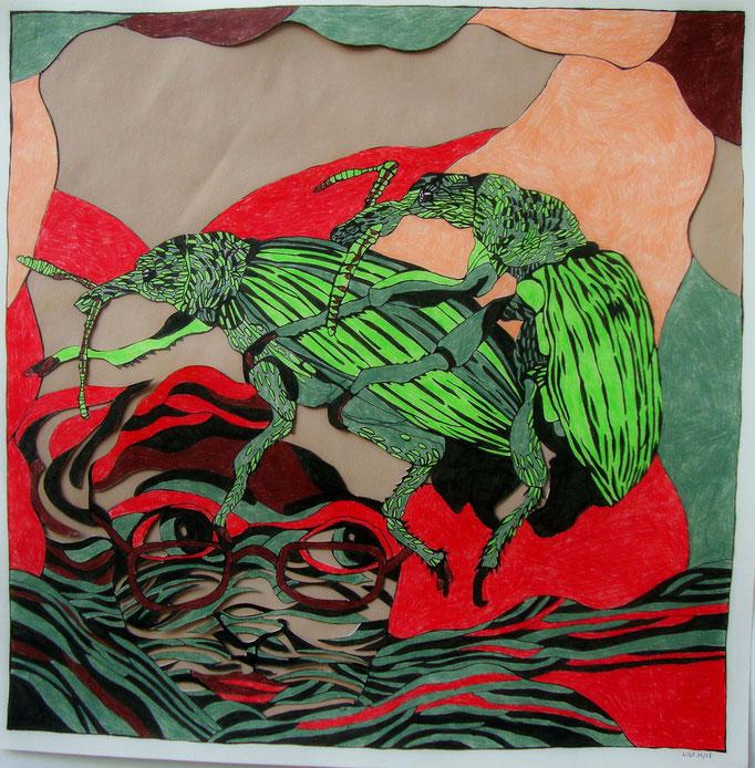 Zeugung mit Zeugin 50 x 50 cm Fineliner/Buntstift/Cutout auf Papier