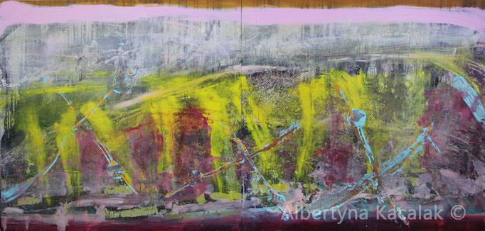 Shutter Island, 140x300cm - diptych, oil, acrylic, resin on canvas, 2016 , not available