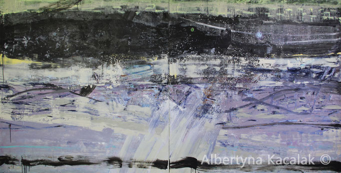 Thunderstorm and black cloud, 150x300 - diptych, oil, acrylic, resin on canvas, 2016, not available