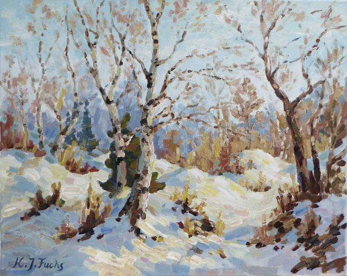 Junge Birken im Winter | Acryl auf Leinwand | 40 x 50 cm