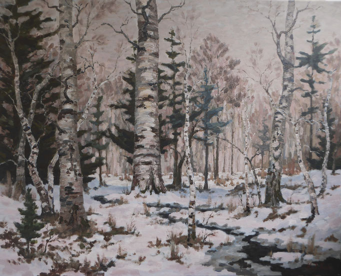 Birkenwald, Stille. | Öl auf Leinwand | 80 x 100 cm | Unverkäuflich