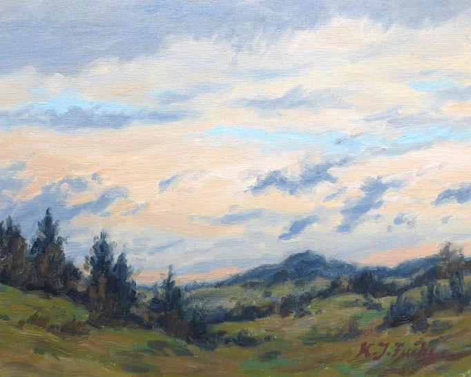 Wandernde Wolken | Öl auf Panel | 24 x 16 cm