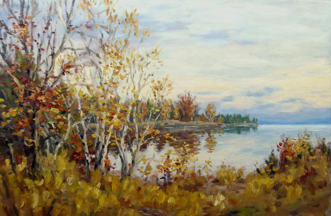 Am Seeufer, Oktober | Öl auf Leinwand | 40 x 60 cm