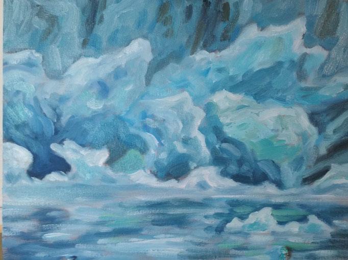 Eis in Island (Studie) | Öl auf Leinwand | 30 x 40 cm