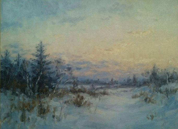 Wintermorgen | Öl auf Panel | 30 x 40 cm