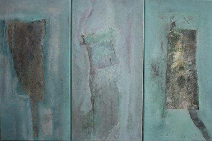 Trilogie Entstehung - Verbindung - Raum (3er-Serie je 30 x 60 cm)