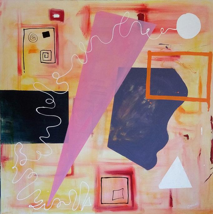 """Sfera bianca""  tecnica mista su tela 150x150 (2017)"