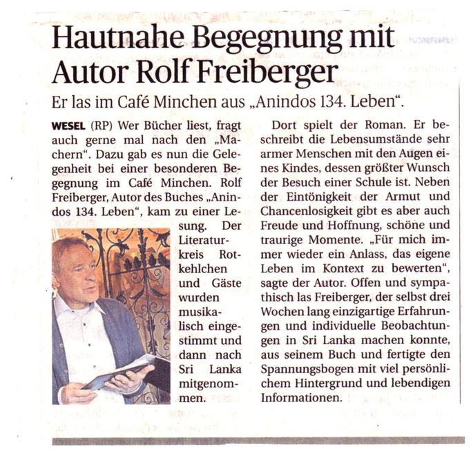 Rheinische Post, Lesung im Cafe Minchen