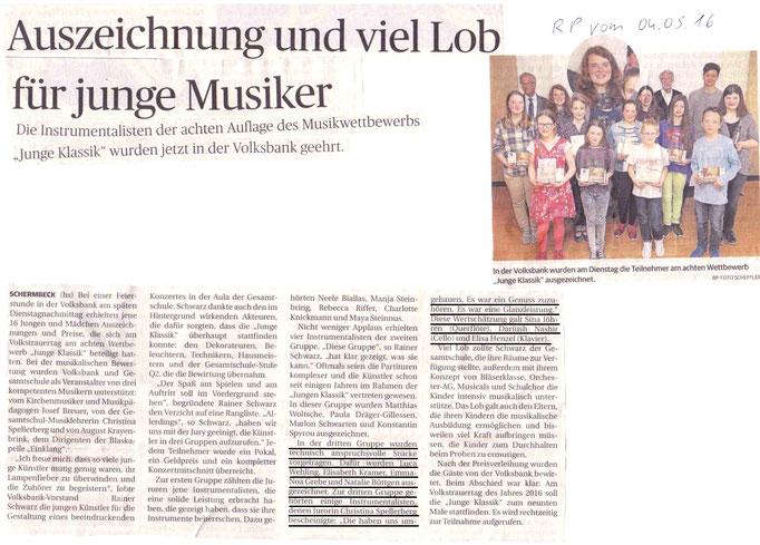Junge Klassik, Rheinische Post vom 04.05.2016