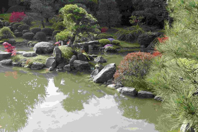 Steinbrücke und Schildkrötenrücken