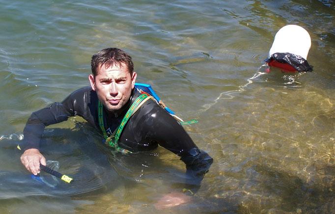 FRANCE, Projet Econage, descente du fleuve Hérault à la nage sur plus de 100km