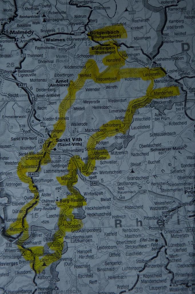 Ourtal Route gelb eingezeichnet (Quelle der Karte: ADAC LänderKarte Benelux 1:300.000)