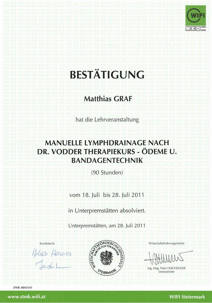 Zertifikat Lymphdrainage Erweitert