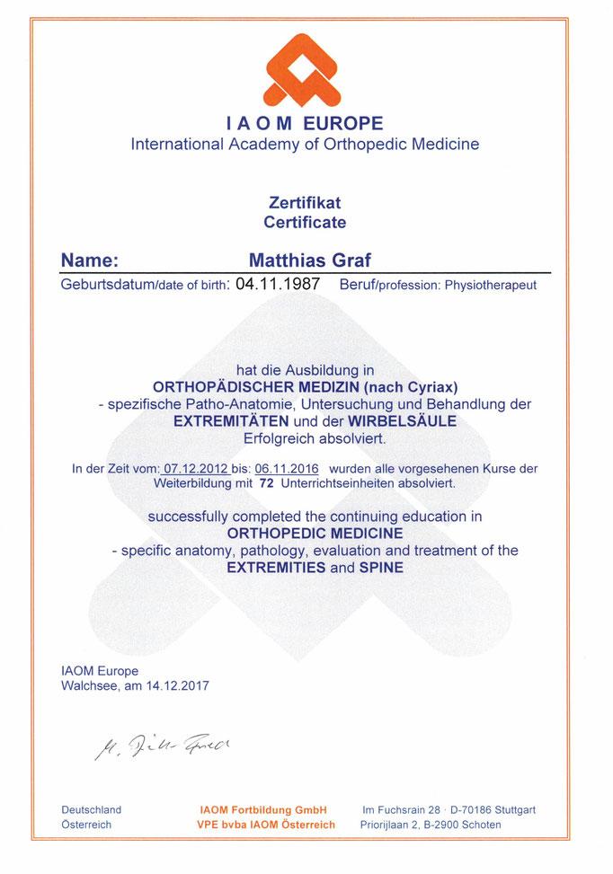 Prüfungsdiplom Orthopädische Medizin