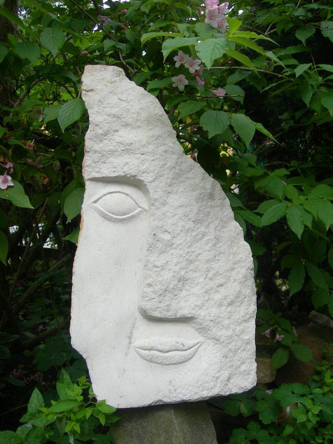 Verlust ( das halbe Gesicht) 2016  Cottaer Sandstein ca 60 cm