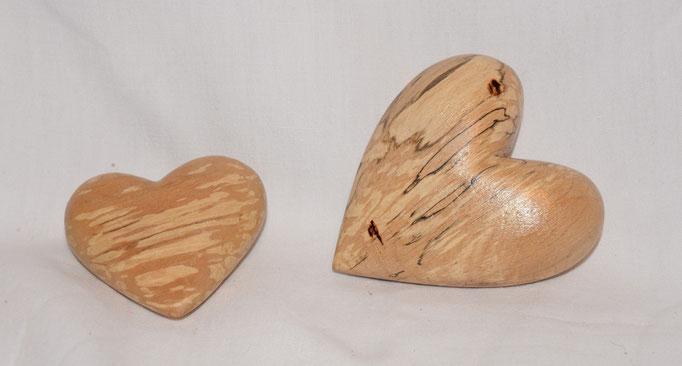Holzherzen - 6-9cm - erstickte Tanne