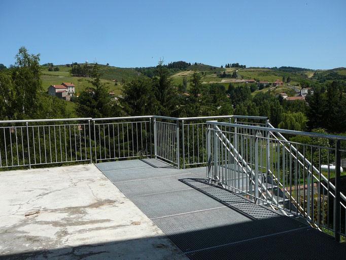 Vue de la terrasse du centre La Margeride, Saugues, GR 65, compostelle
