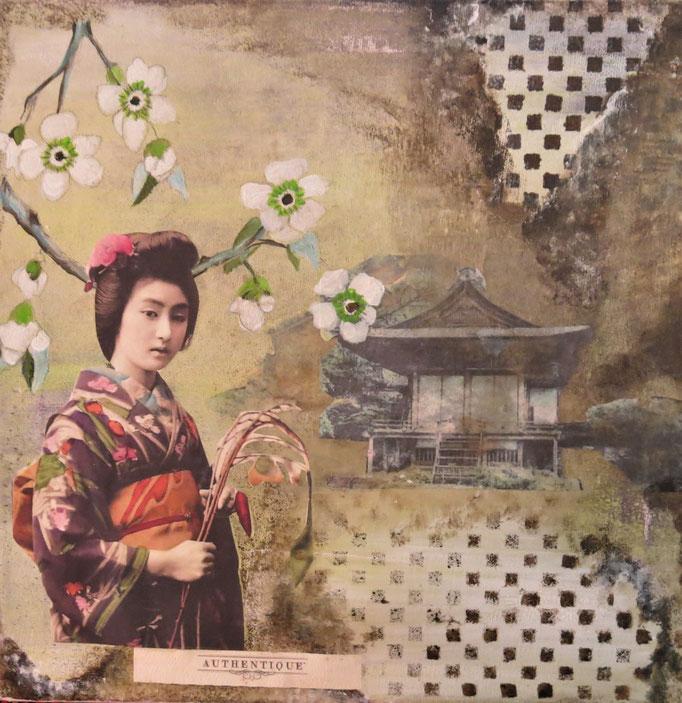 Collage auf Leinwand