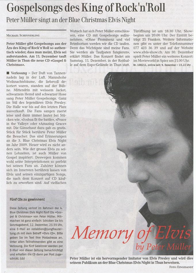 Jungfrau Zeitung neue CD mit Elvis Imitator Peter Müller