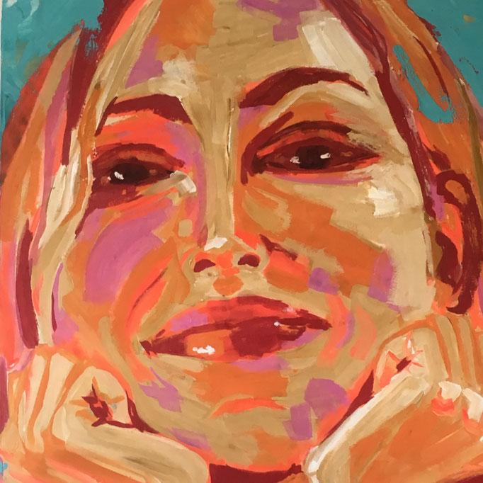 Acryl auf Leinwand   Titel: Wanda   Größe 80 x 80