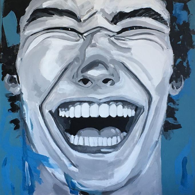 Acryl auf Leinwand   Titel: Lachhaft   Größe: 80 x 80