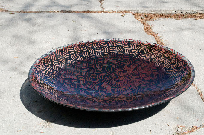 "Bronze, float (window) glass, mason stain, metal, 20"" diameter"