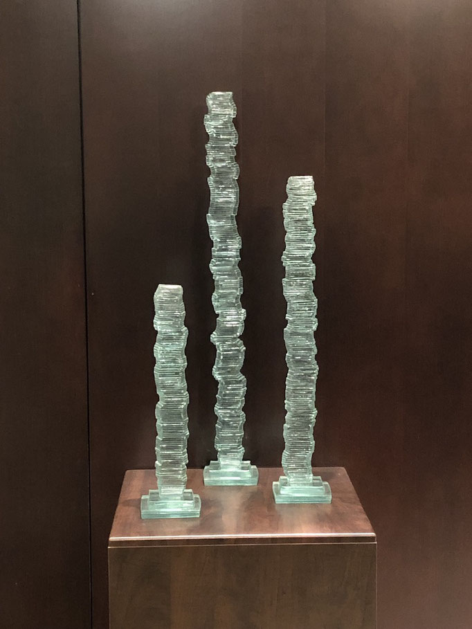 "Sentinels, Triptych, 30""H,"