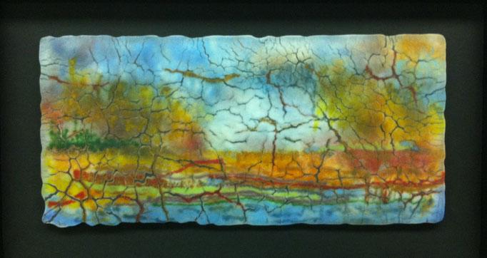"""Landscape west, spectrum art glass, 7"""" x 14"""""""