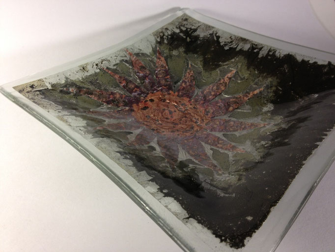 "Flower, float glass, metal, 14"" square"