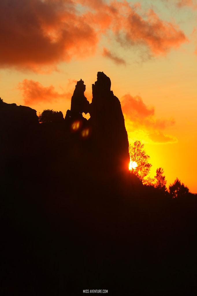 Calanques de Piana au coucher de soleil.