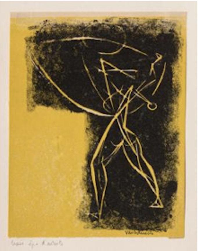 Varbanesco, L'homme en marche, linogravure, 15,5 x 12.