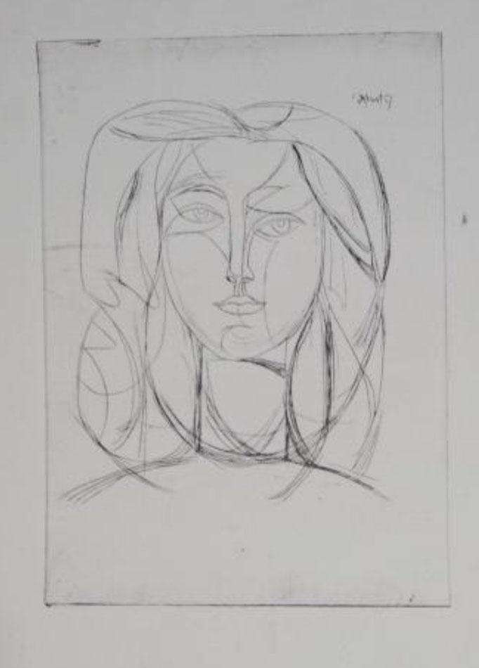 Varbanesco, tête de jeune femme, d'après Picasso