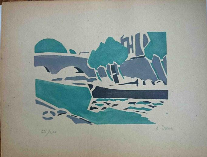 Tresch, la péniche, pochoir, Album Ziniar fév. 21, 121x173