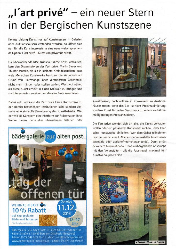 Quelle: Bergisches Handelsblatt 01.12.2016 / Bensberg entdecken / Viola Schmitz