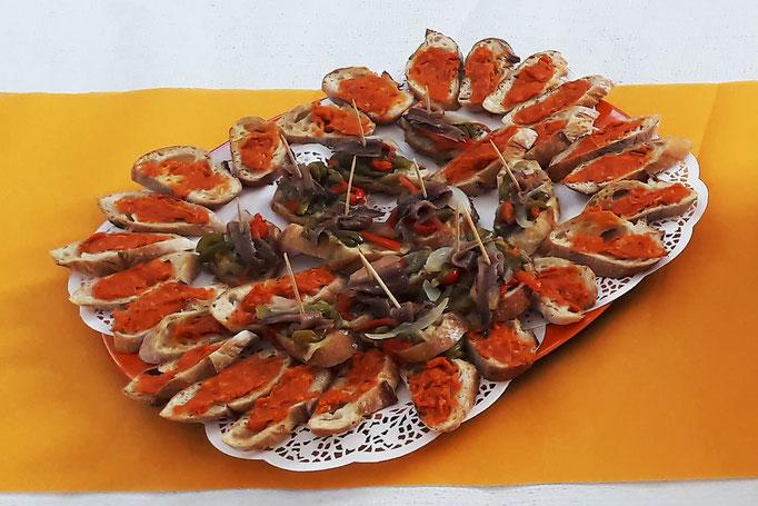 Sobrasada (charcuterie des îles Baléares) et anchois pour une privatisation Tapas Locas chez un particulier.